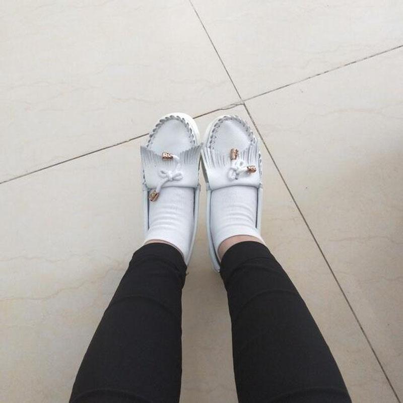 Véritable 2018 Femme En Alakazamp on Plat Cuir Femmes Plate Marque White forme Appartements Printemps Chaussures Slip F888 blue Pour Mocassins q0vvA45wx
