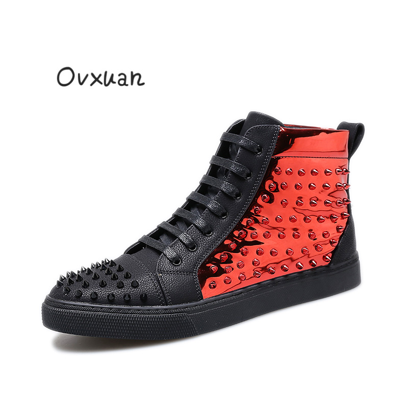 Ovxuan High Top Black Rivets Toe Street Sneakers 2017 Red Rivets Sports Flat Shoes Fashion Party Men Waterproof Casual Shoes fashion young man red casual shoes men luxury high top toe mens falts british trend flat heel men s loafers shoes