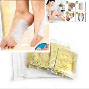 Image 1 - 20pcs/lot Gold Premium Kinoki Detox Foot Pads Organic Herbal Cleansing Patches Feet Care Accessory(10pcs Patches+10pcs Adhesives