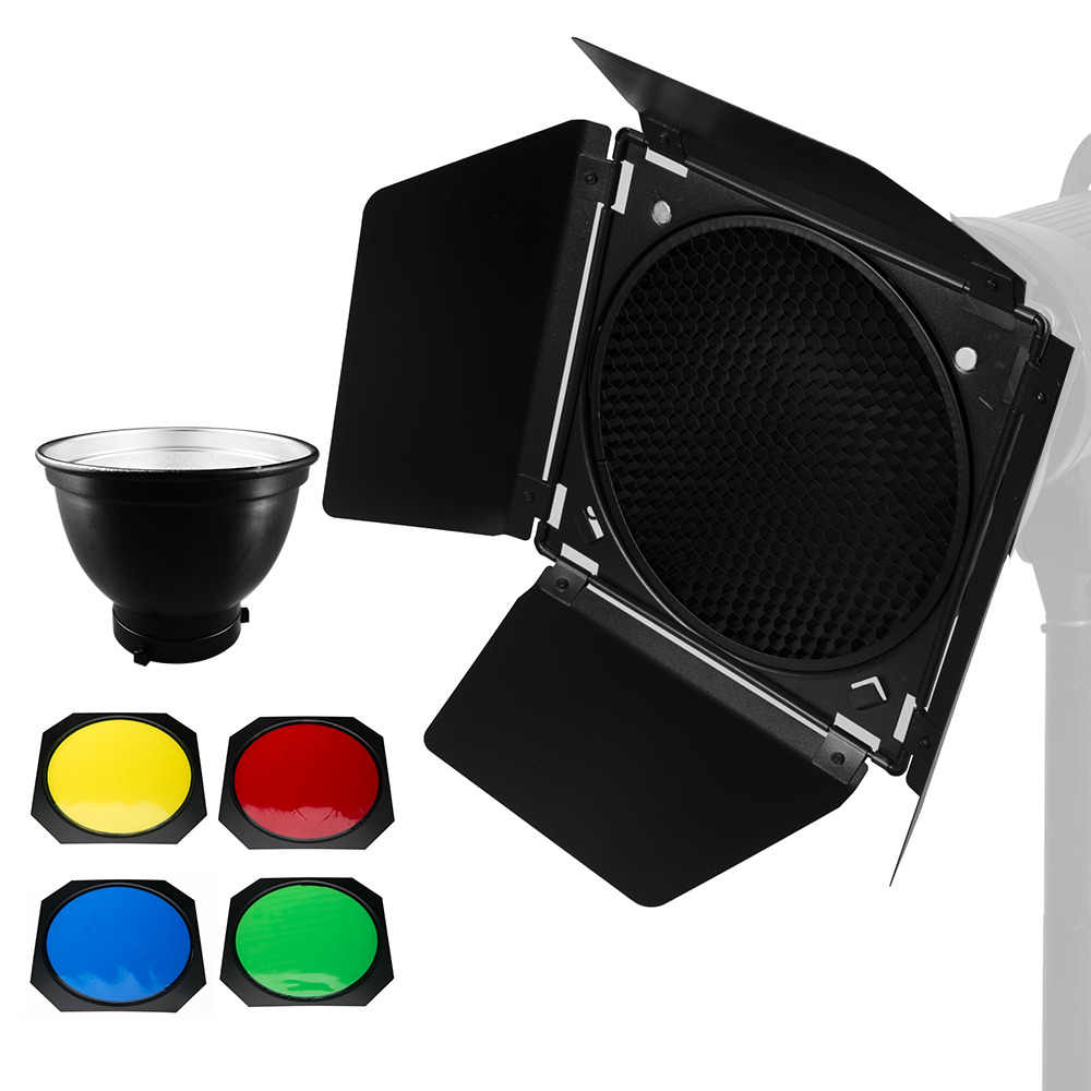 Godox Standard Reflector Bowens Mount with BD-04 Barndoor with Honeycomb Grid & 4 Color Filter Gel Set