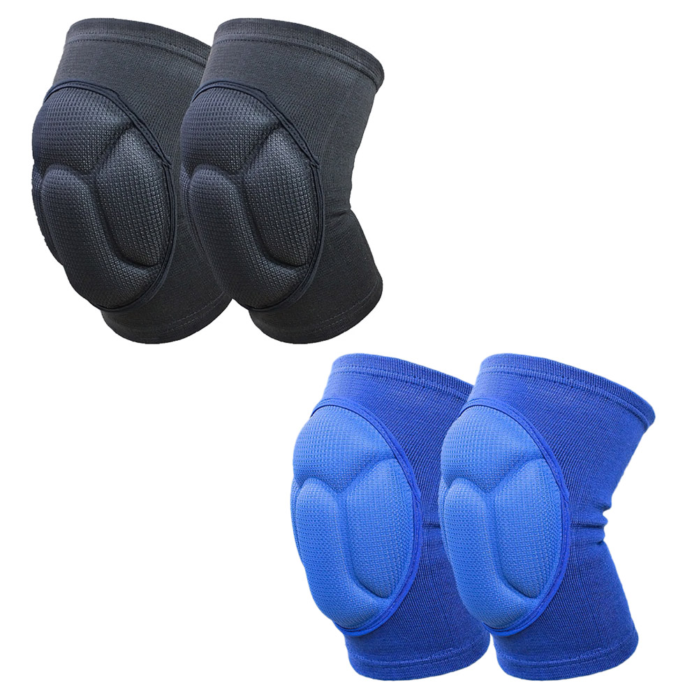 Knee Pads 1 Pair Thick Brace Support Lap Brace Football Volleyball Cycling Sports Black And Blue Knee Protector Cover Kneepad