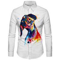 Cloudstyle Painting Dog Shirt Men Slim Fit Business Hombre Camisa 3D Printed Long Sleeve Blouse Male Shirt Casual Clothing Tops