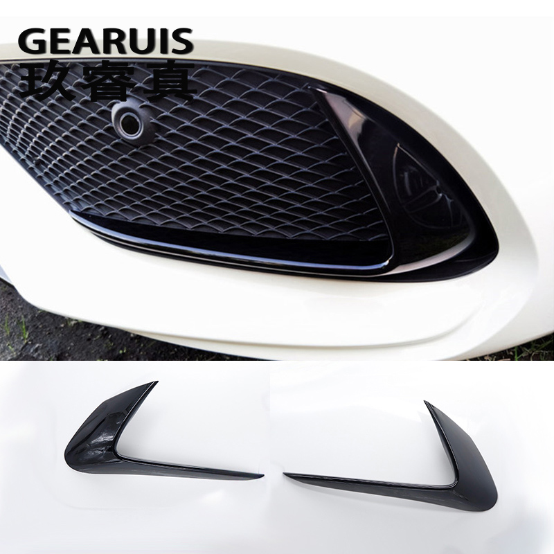 Car Styling Car Fog Lamps Cover Grille Slats Black Lights Cover Decoration Strips For Mercedes Benz CLA C117 220 260 200 2017