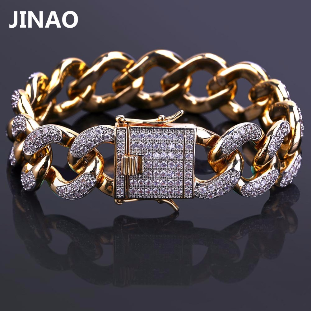 JINAO Gold Color Plated Iced Out Micro Pave CZ Stone Bracelet Link Chain Six Sizes Chain Bracelets Hip Hop Jewelry For Men Women topgrillz spikes rivet stud mens rivet charm bracelets 2018 iced out gold silver color bracelets for men hip hop punk jewelry