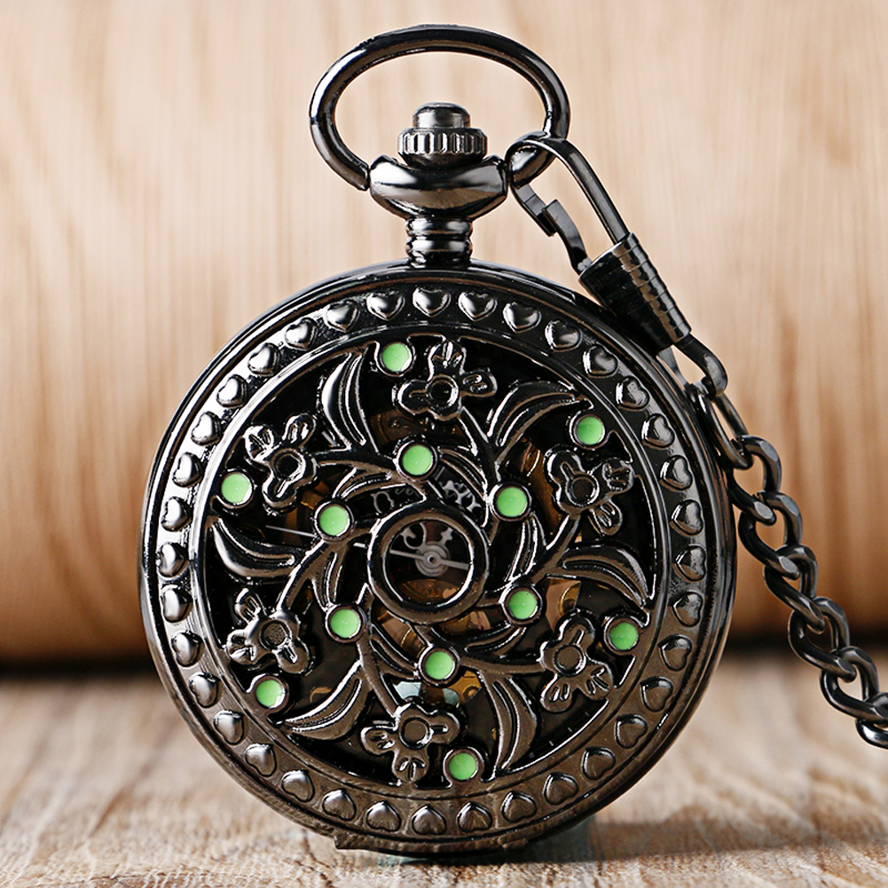 Vintage Mechanical Pocket Watch Hollow Flower Black Pocket Pendant Clock Hand Winding Retro Black Pocket Clock Gifts For Men
