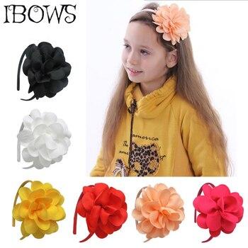 Children Girls Ribbon Big Flower Bow Hairbands Hairwear Tiaras Hoop For Hair Girls Head Bands Accessories