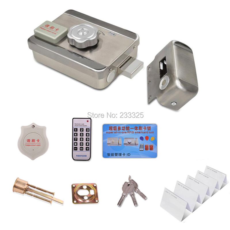 10pcs ID PVC Smart Cards DC12V Door and gate RF Access Control system Electronic integrated RFID Door Rim lock for intercom