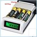 C905W 4 Slots Display LCD Inteligente Carregador de Bateria Inteligente para AA AAA NiMh NiCd Baterias Recarregáveis Chargerbattery Plug EUA