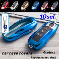 TPU 10set key case covers For Porsche cayenne 996 boxster 981 986 987 911 Macan Protective car key case holder shell key chain