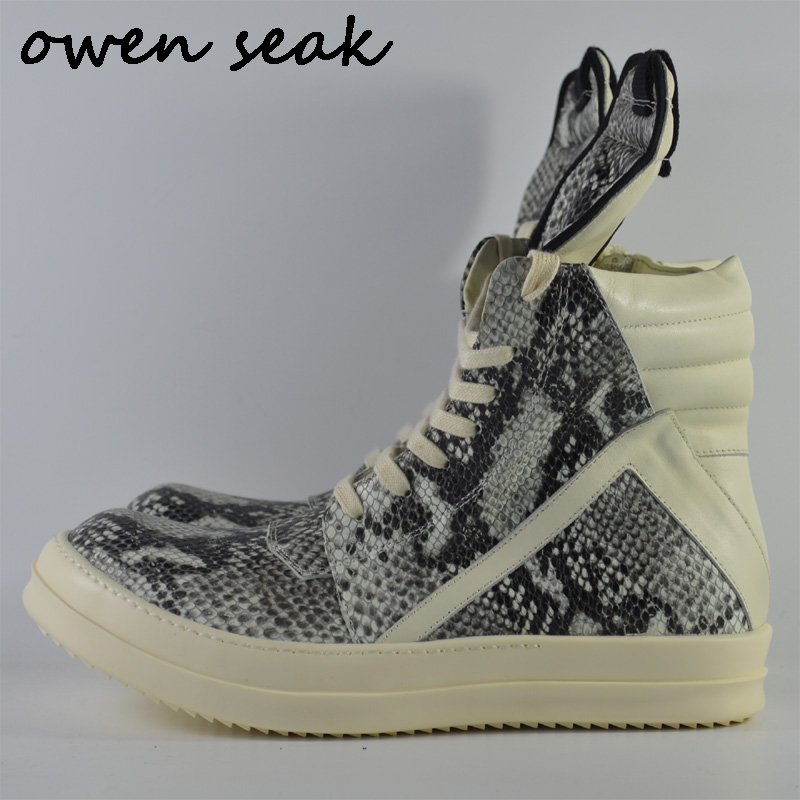 Owen Seak Men Shoes High-TOP Ankle Boots Serpentine Genuine Leather Sneaker Luxury Trainers Boots Casual Lace-up Zip Flat Shoes