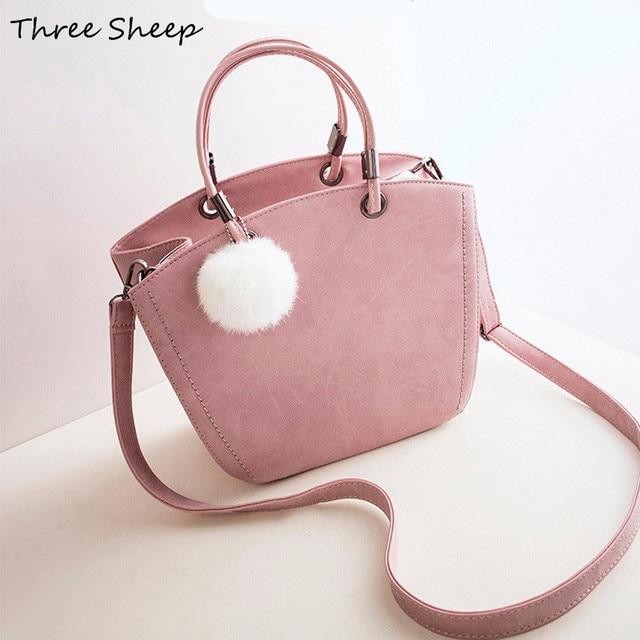 5f1970ee10d5 Hairball Hand Bags Ladies Handbags Scrub PU Leather Shoulder Bag Gray Women  Small Pink Handbags Designer Tote Bags