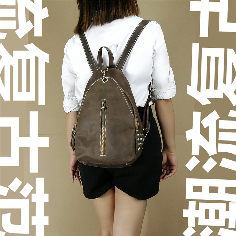 Nesitu New Brown Vintage Thick Genuine Leather Men Women's Backpack For Girl Crazy Horse Leather Female Travel Bag M168 цена и фото