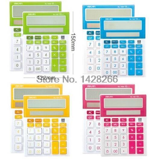 New Deli 1281A Desktop font b Calculator b font solar panel color dual power computer
