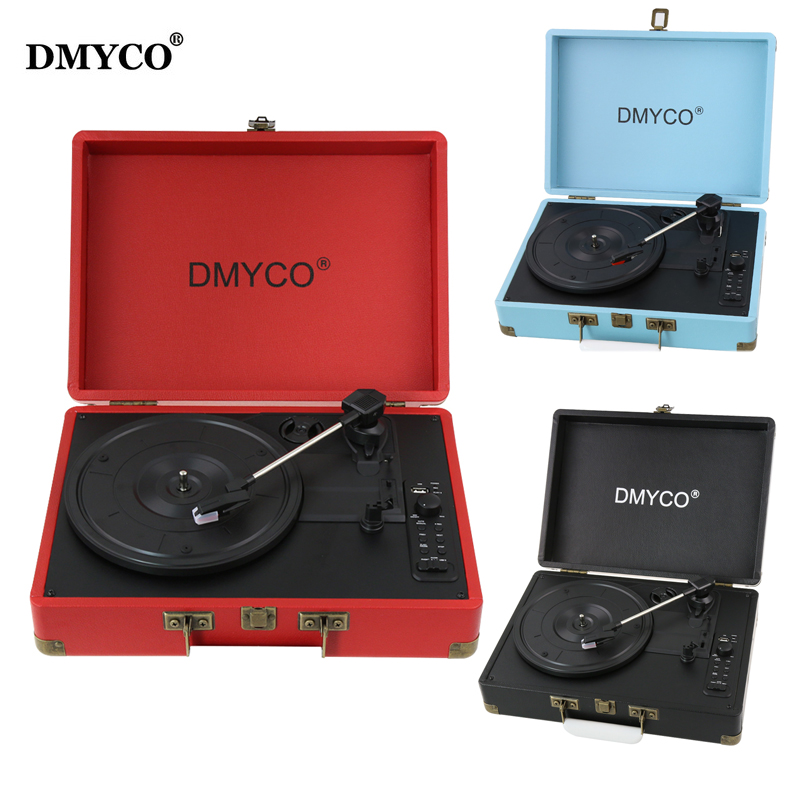 DMYCO Music Audio Bluetooth Players Turntable 45 RPM Vinyl Record Player Support USB/Aux-in for CD Player/Speakers