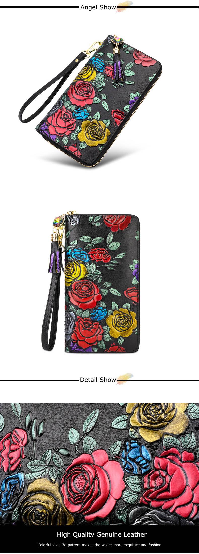 2020 novo 3d rosa flor carteiras feminino