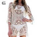 Lace Girl 2017 Women Sexy Mesh Lace Hollow Crochet Dresses Fashion Transparent Dresses For Ladies Beach Wear Women Long Tops