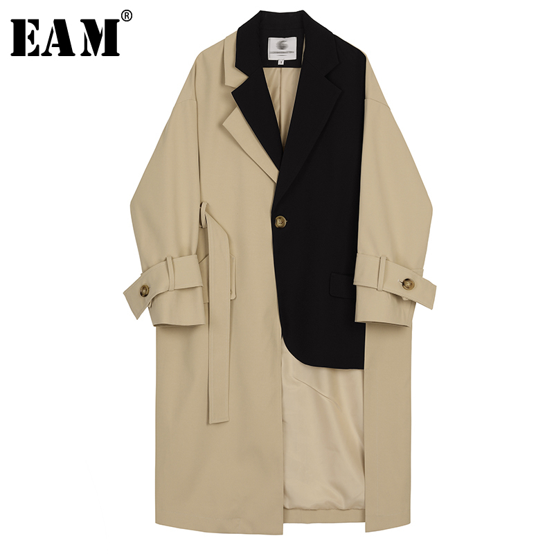 [EAM] 2019 New Autumn Winter Lapel Long Sleeve Hit Color Split Joint Loose Long Big Size Windbreaker Women Trench Fashion JX441