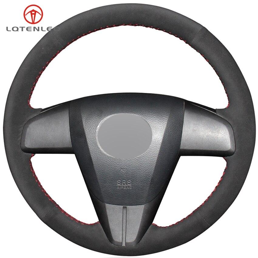 LQTENLEO Black Suede DIY Car Steering Wheel Cover For Mazda 3 2008-2015 CX-7 CX7 CX-9 CX9 2010-2016 Mazda 5 Mazda 6 2011-2013
