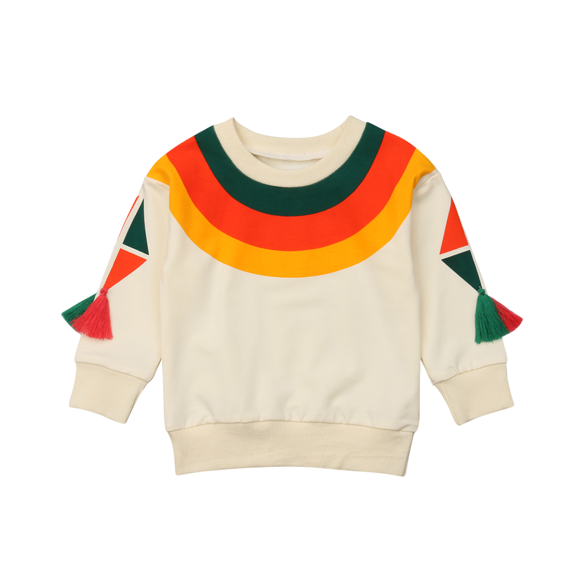 New Toddler Kids Girl Rainbow Sweatshirt Top Autumn Fashion Long Sleeve Cartoon O-Neck Girls Casual Cotton Cute Sweatshirts Tops grey casual loose round neck sweatshirt