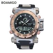 2016 роскошные BOAMIGO марка Мужчины военный спортивные часы Dual Time Цифровые Кварцевые Часы резинкой наручные часы relógio masculino