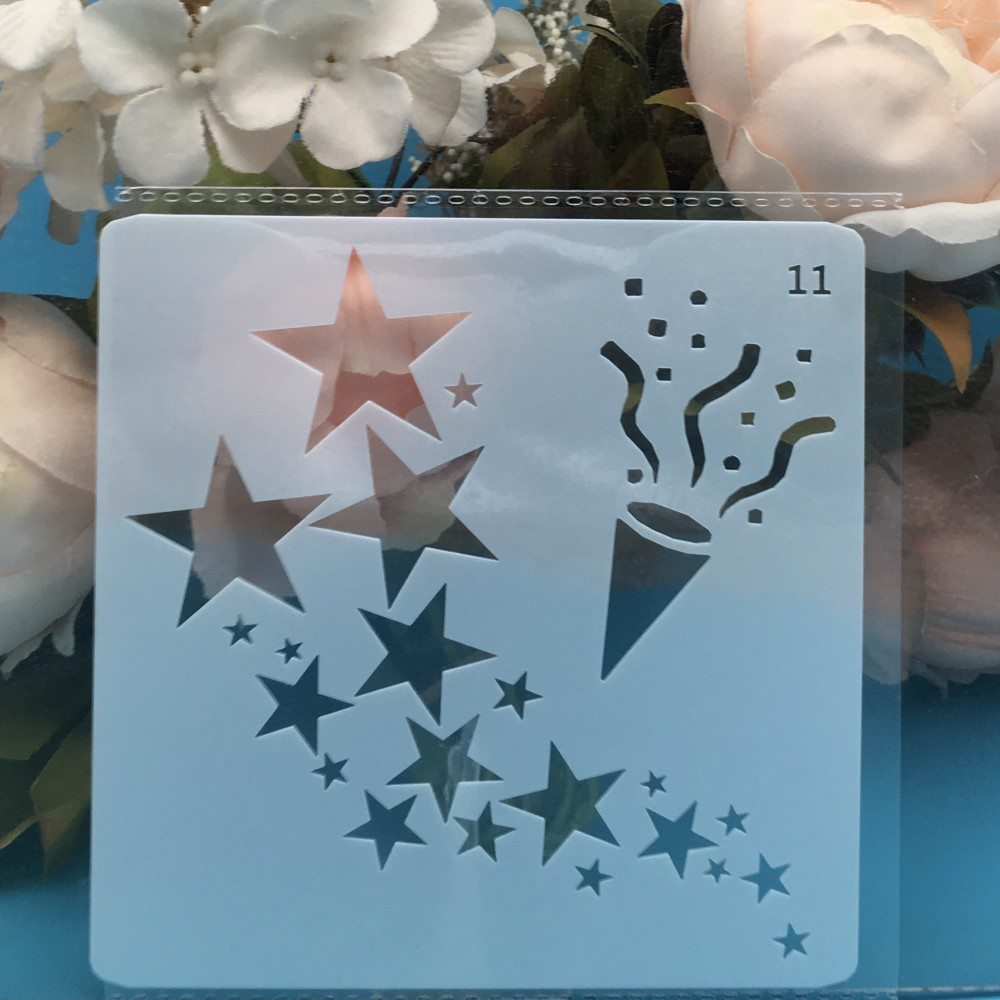 1Pcs 13cm Stars DIY Layering Stencils Wall Painting Scrapbook Coloring Embossing Album Decorative Card Template