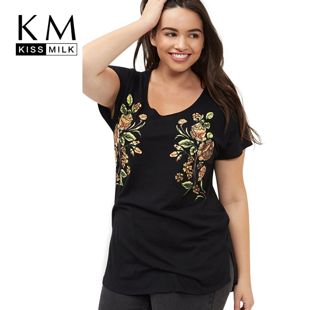 Kissmilk Plus Size New Fashion Women Clothing Casual Short Sleeve O Neck Tops Floral Embroidery Big