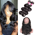 7A Peruvian Virgin Hair Body Wave 360 Lace Frontal With Bundle Cheap Peruvian Body Wave 360 Closure And Bundles Peruvian Hair