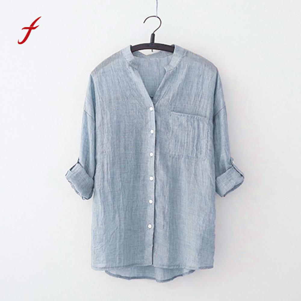 Feitong 2018 New Women Stand Collar Long Sleeve Shirt Casual Blouse Button Down Tops Plus Size Blusas feminina