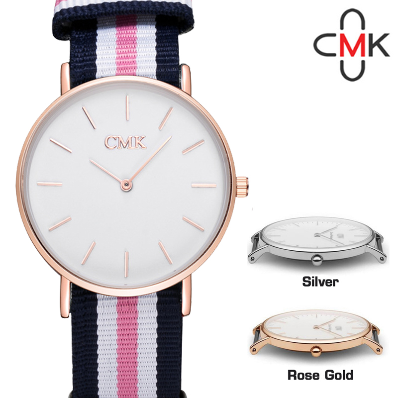 CMK Nylon Rem Top Luxury Brand Män Vattentät Watch 2017 Nya Canvas - Damklockor