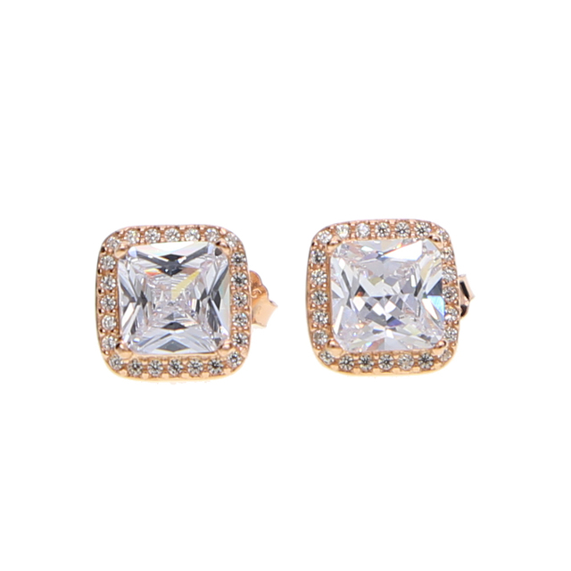 Rose Gold Oxidized Color Pure 925 Sterling Silver Micro Pave Zirconia Cz Sparking Bling Square Studs Earring