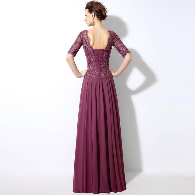 005114fa97783 US $69.3 10% OFF|New Mauve Chiffon Long Evening Dresses With Illusion Half  Sleeve Top Sequined Lace Applique Elegant Party Gowns For Mother SD321-in  ...