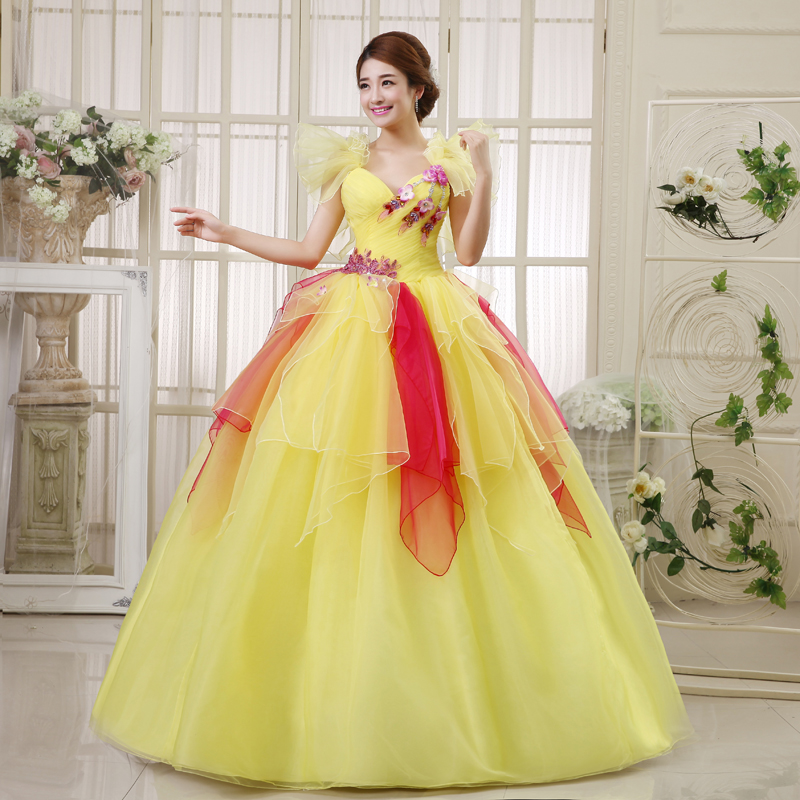 2014 tube top bridal gowns princess yellow wedding dresses for Yellow dresses for weddings