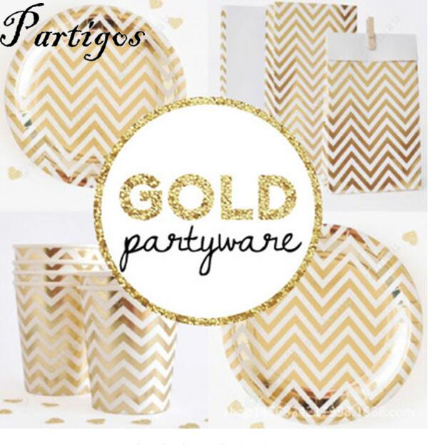 21pcs gold silver disposable chevron party tableware sets paper plates cups for birthday bridal shower children party decoration in disposable party