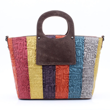 UniCalling luxury women bag striped multicolor panelled real leather handbags female bag fashion hieroglyphic women handbag
