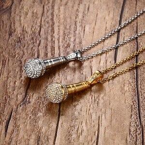 Image 4 - Modyle collier et pendentif Microphone style Hip Hop en acier inoxydable, couleur or, en pierres CZ, couleur or, pour hommes/femmes