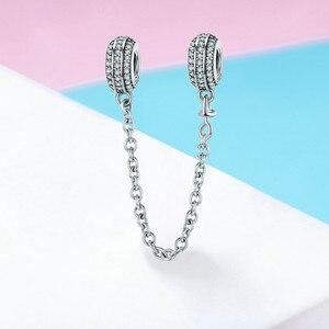 Image 2 - 100% Серебряный браслет с инкрустацией, безопасная цепочка с прозрачными фианитами, подвески для браслета, DIY ювелирные изделия SCC812