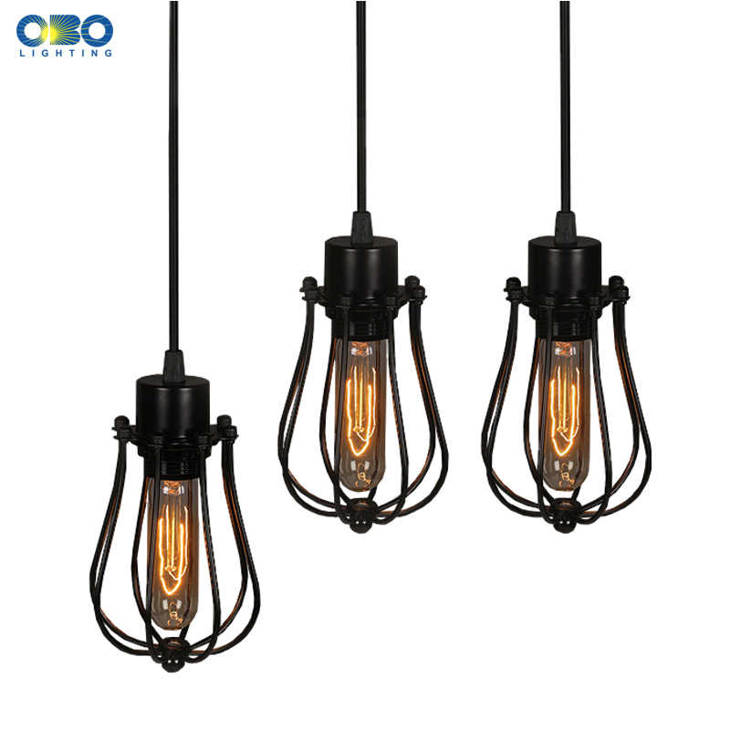 Simple Black Metal Painted Vintage Pendant Lamps Indoor Bra Wire Cord 1.2-1.5m Pendant Lights E27 110-240V Free Shipping