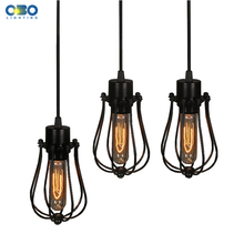 цена на Simple Black Metal Painted Vintage Pendant Lamps Indoor Bra Wire Cord 1.2-1.5m Pendant Lights E27 110-240V Free Shipping