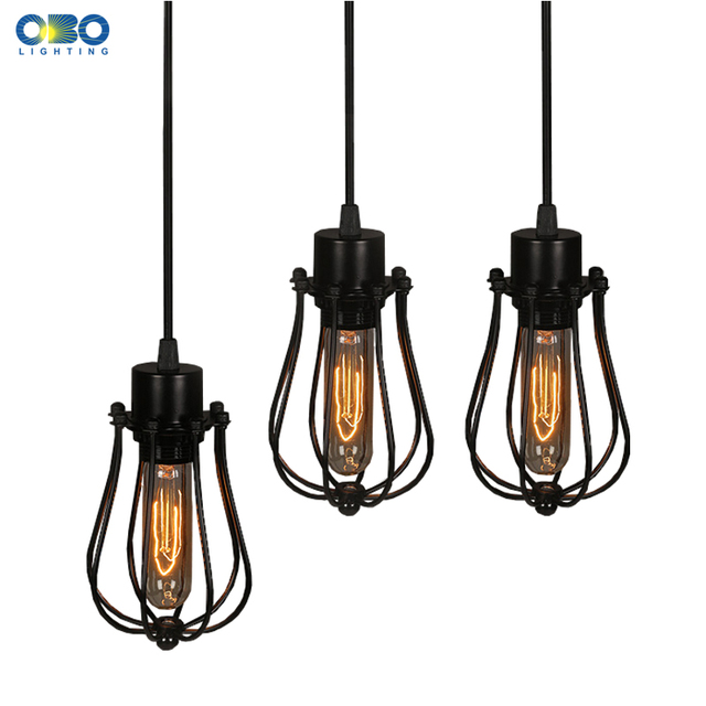 Simple Black Metal Painted Vintage Pendant Lamps Indoor Bra Wire ...