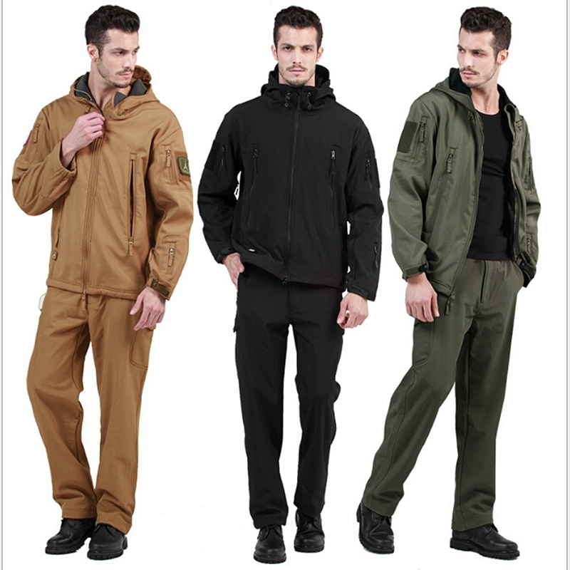 TAD V4.0 Gear Camouflage Outdoor Waterproof Hiking Jacket Suit Men Army Hunting Set Military Soft shell Jacket+ Pants S-XXXL