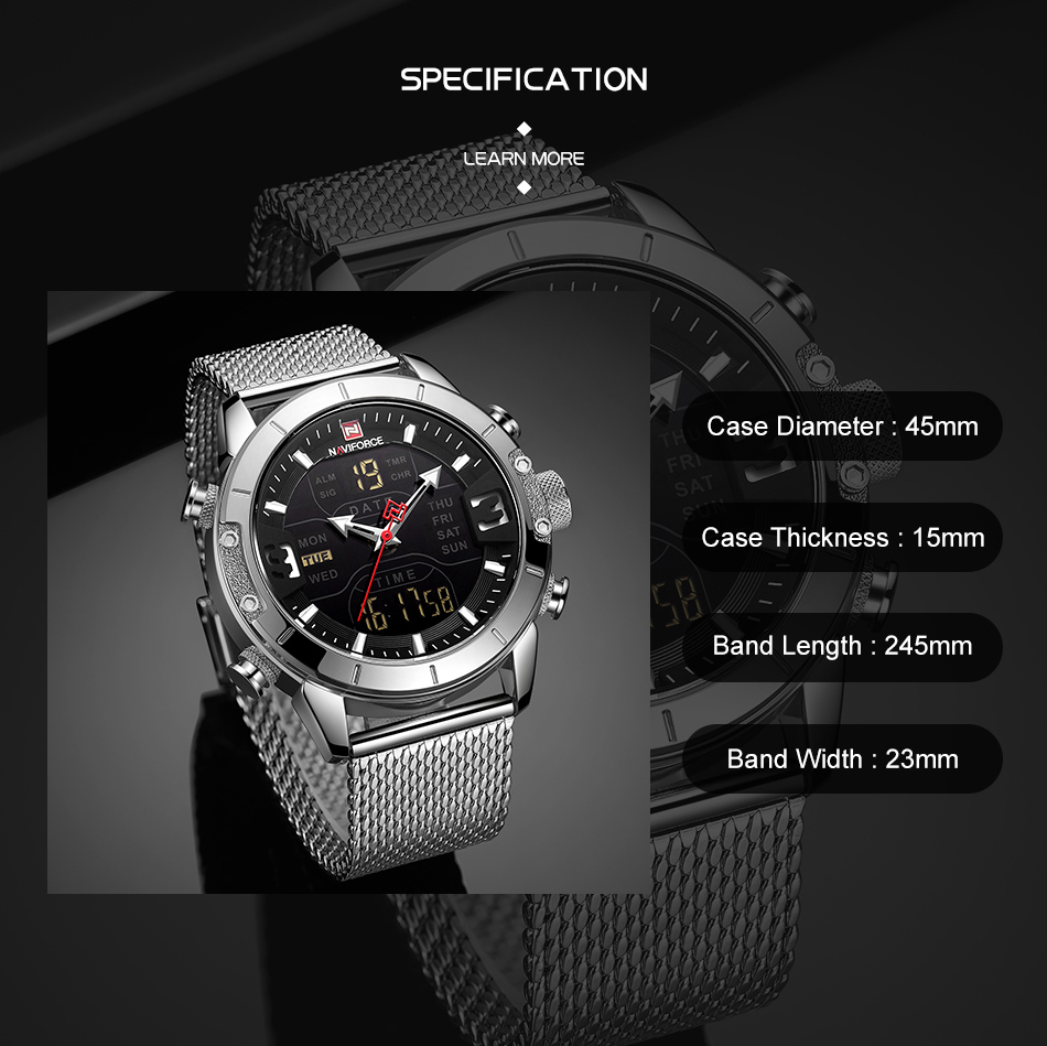 NAVIFORCE Mens Watches Top Brand Luxury Mesh Steel Multiple Time Zone Waterproof Watch For Men Silver Watch Relojes Para Hombre (3)