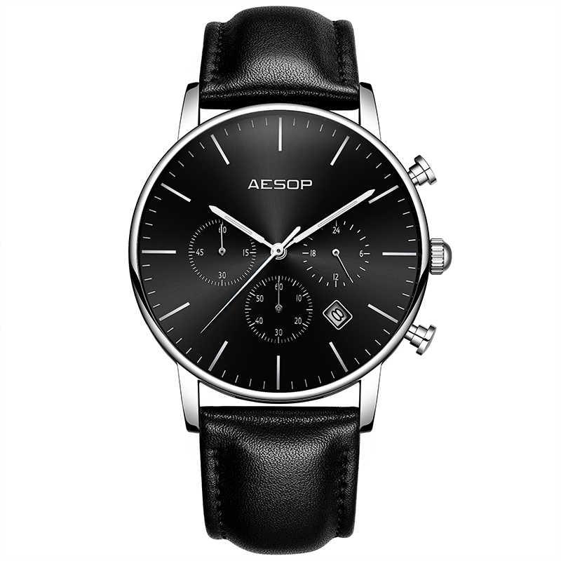 איזופוס שעונים גברים דק יוקרה איש ספורט קוורץ שעוני יד עור זכר שעון יד גברים שעונים עמיד למים Relogio Masculino