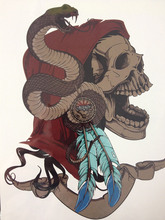 Snake And Skull 21 X 15 CM Temporary Tattoo Stickers Temporary Body Art Waterproof #68