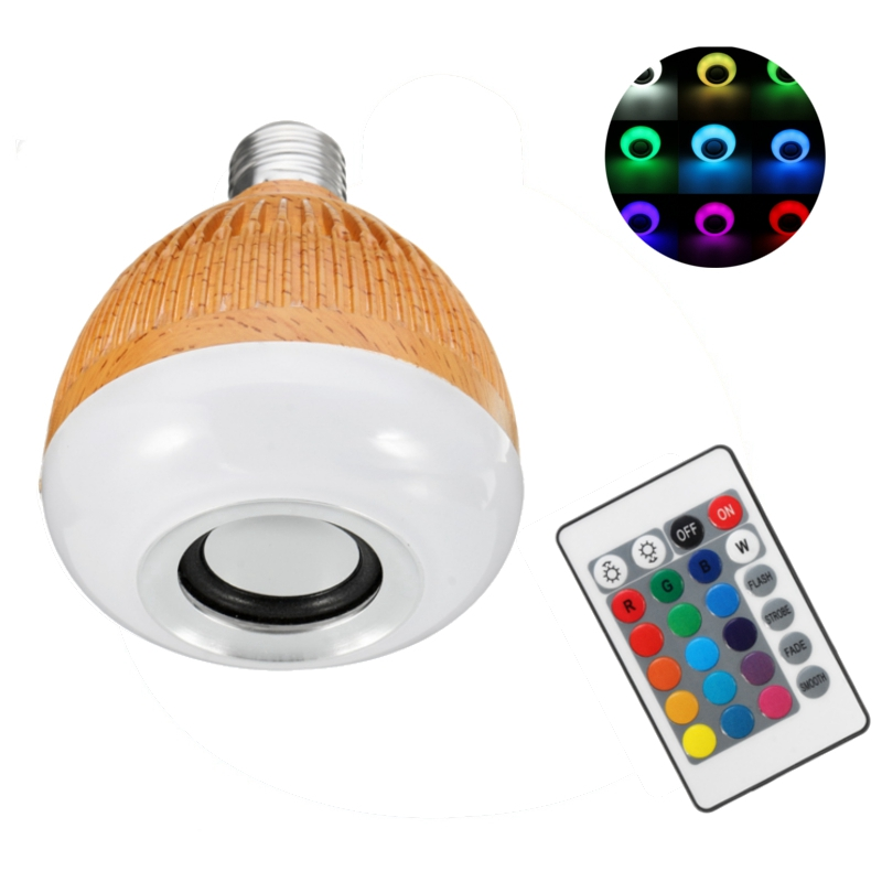 Lowest Price LED Lamp Bulb E27 12W RGB Wireless Bluetooth Speaker Music Player Smart LED Light Bulb With 24Keys Remote Control