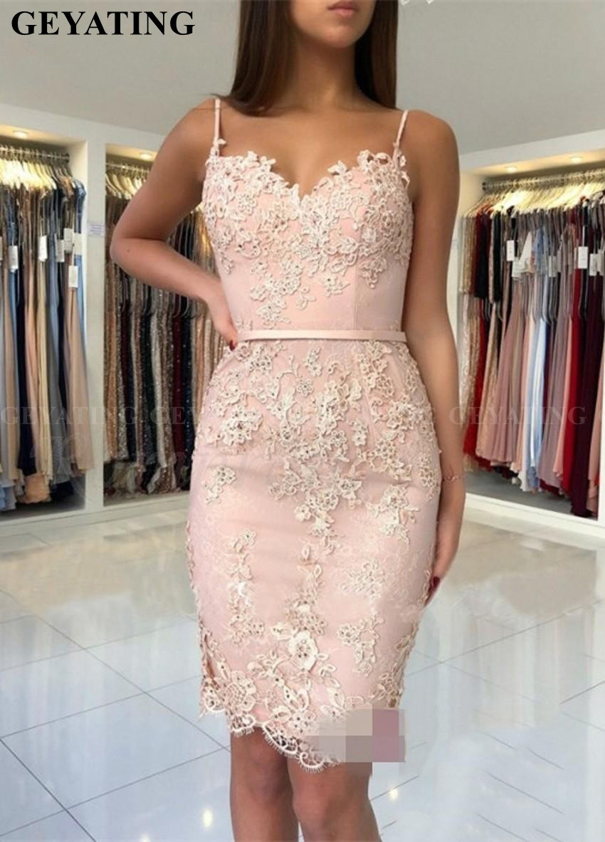 Sexy Spaghetti Straps Knee Length Pink Lace Cocktail Dresses 2019 Short Homecoming Dress Sheath Junior Peach Prom Party Dresses