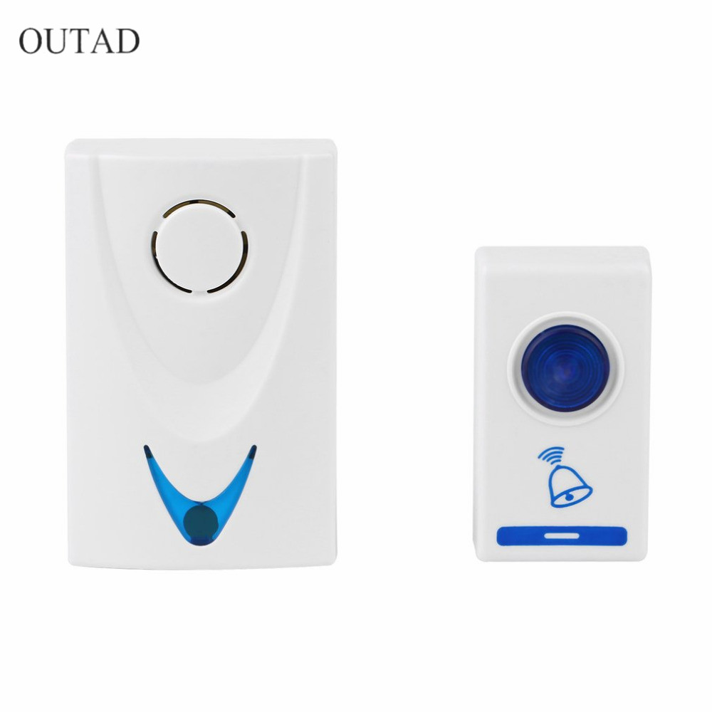 504D LED Wireless Chime Door Bell Doorbell & Wireless Remote control 32 Tune Songs White Home Security Use Smart Door Bell wireless doorbell door bell remote control white 32 tunes songs new