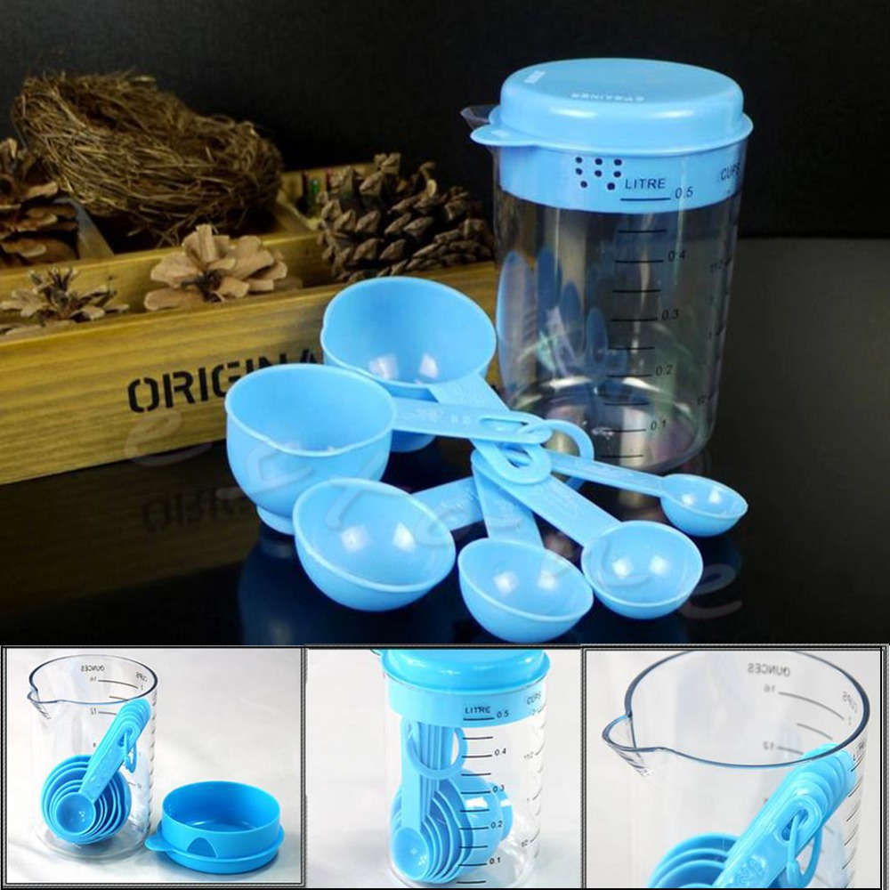 E74  1Set Plastic Cup Measuring Pitcher Tool with Handle Pour Spout New Cups Spoons