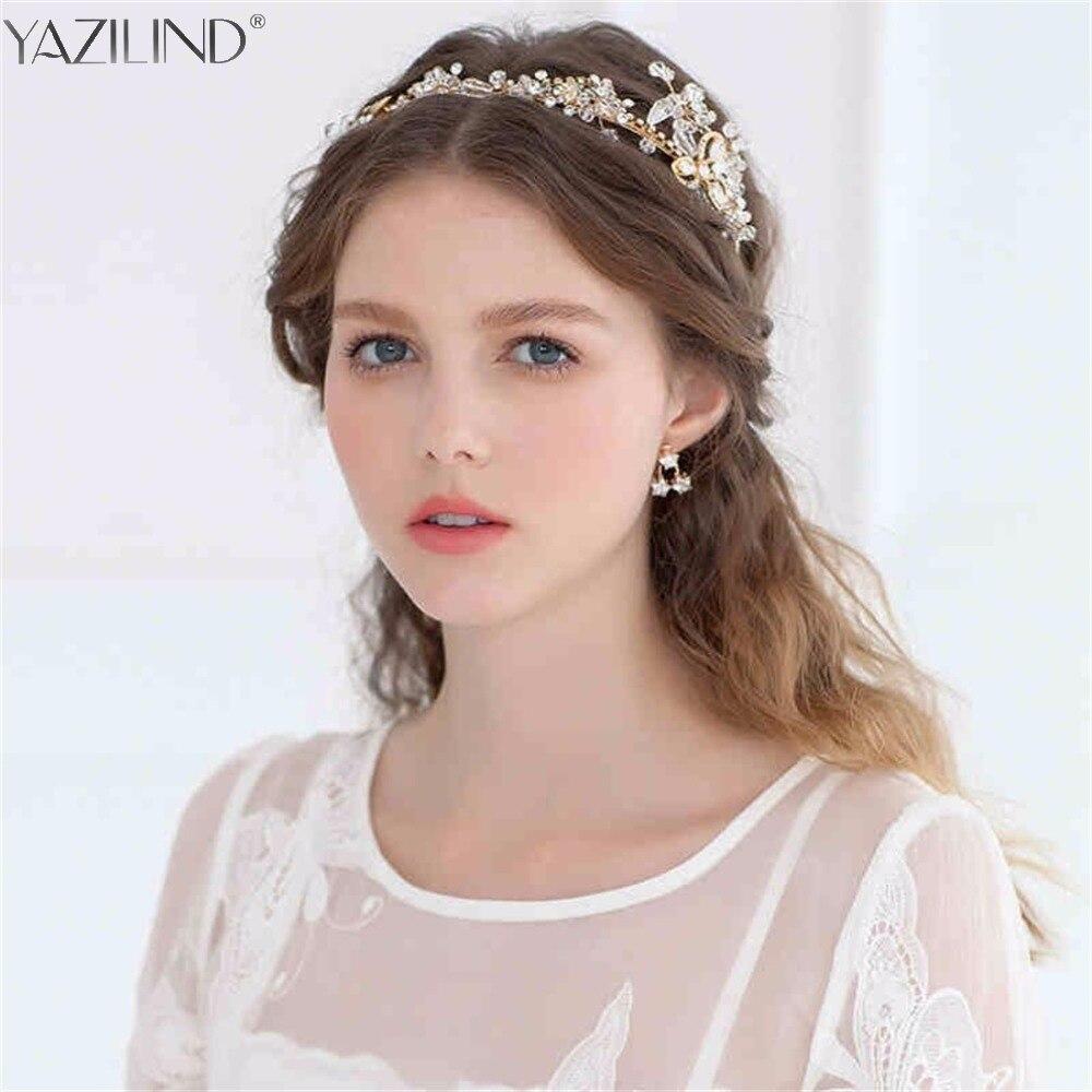 Exquisite Wedding Head Pieces: Exquisite Gold Flower Leaf Crystal Wedding Hair Vine