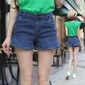 6 EXTRA GRANDE Novo Jeans Feminino Shorts De Cintura Alta Com Babados Culottes Pacote de Quadril Magro Era Magro Estiramento Denim Shorts Largos