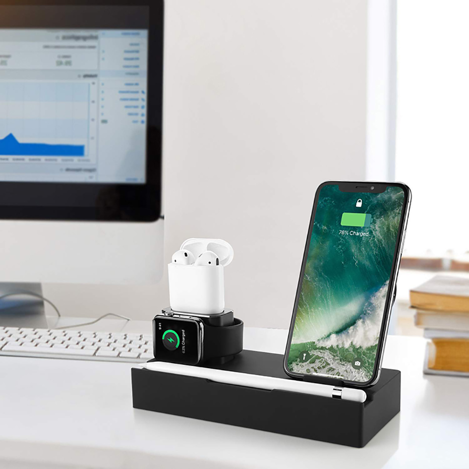 Multi Function Nightstand QI Wireless Charger For Iphone  Samsung Charger Stand For Airpods Apple Watch USB Charger Dock Station (6)